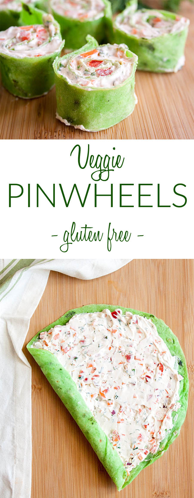 Vegan Veggie Pinwheels Tortilla Roll Ups collage photo with text.