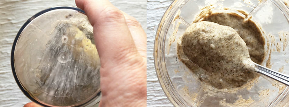 Banana Chia Pudding being blended in Nutribullet left photo. Right photo shows consistency.