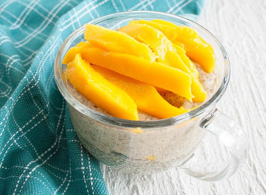 Mango Chia Pudding layered with Matcha Chia Pudding