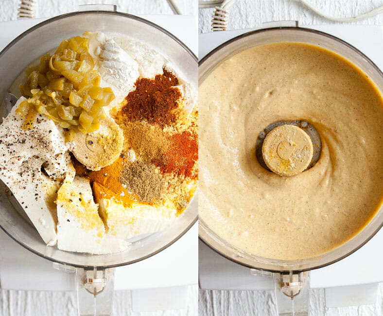 Vegan Nacho Cheese Sauce in food processor left photo shows before being mixed, right shows after being mixed.