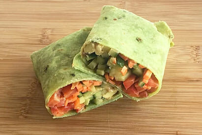 Vegan Wrap on cutting board.