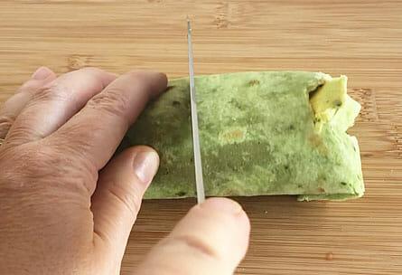 Veggie Wrap being cut.