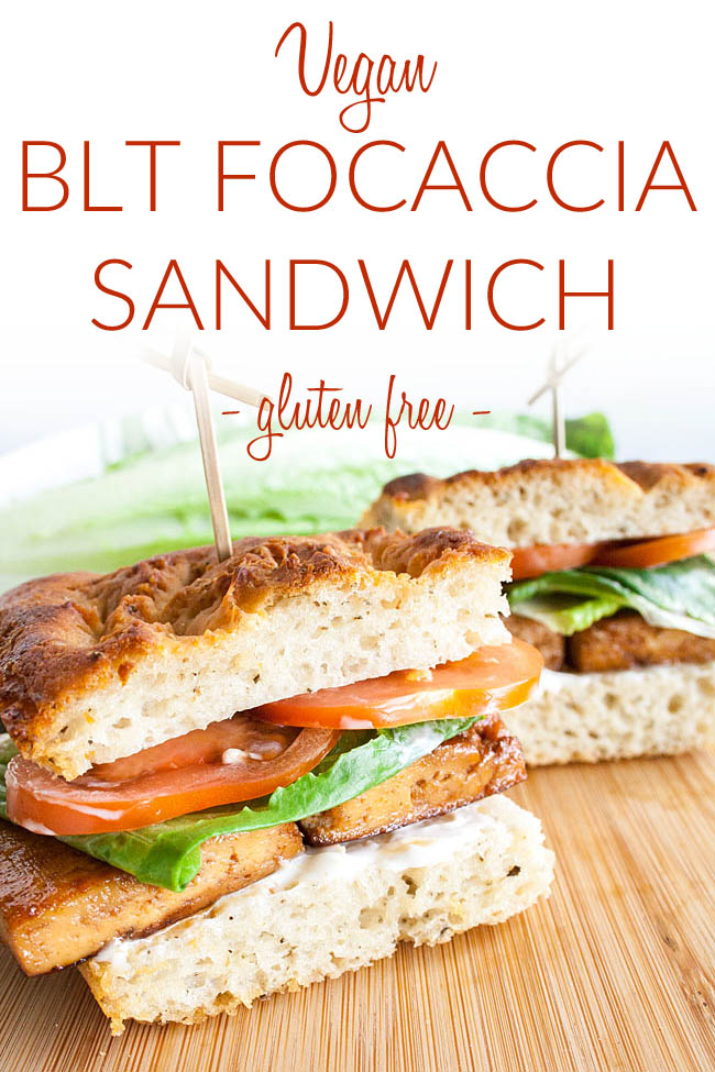 Vegan BLT Focaccia Sandwich photo with text.