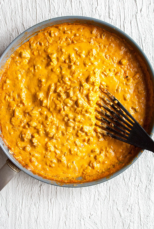 Chili Cheese Dip in pan.