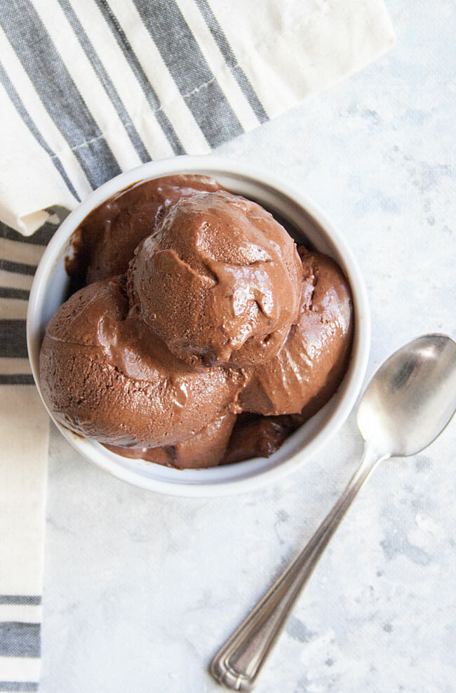 No-Churn Chocolate Ice Cream birds eye view with spoon.