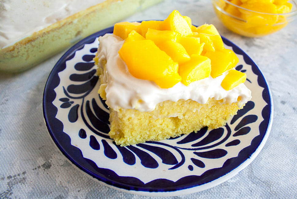 2 Ingredient Cake with Mango on a plate.