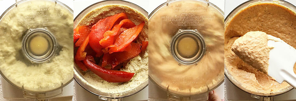 Roasted pepper being added to tofu ricotta in food processor.