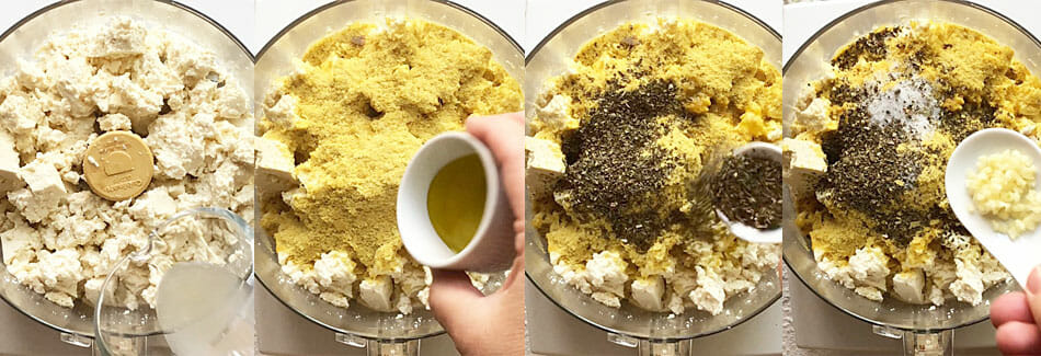 Tofu Ricotta being made in a food processor. Four photos showing process.