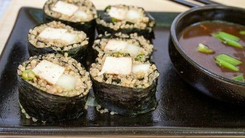 Hoisin Tofu and Cucumber Sushi Rolls with Quinoa