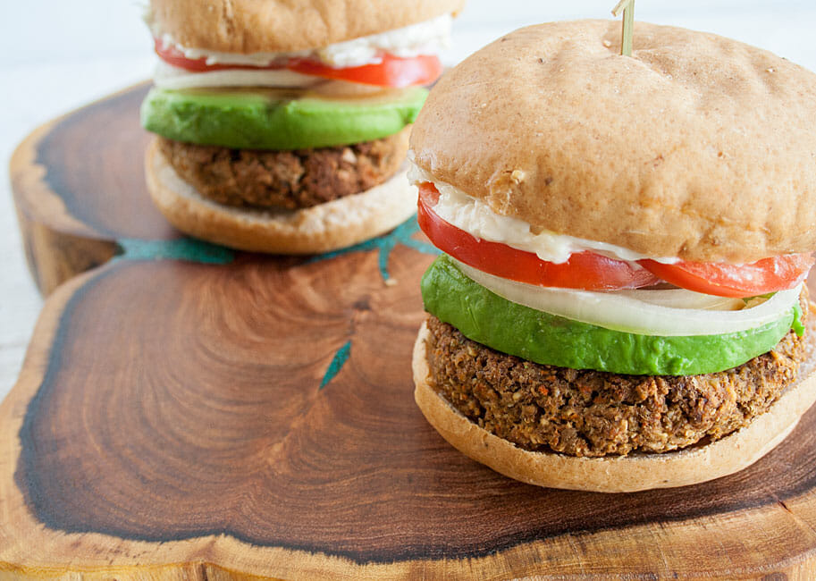Vegan Burgers close up.