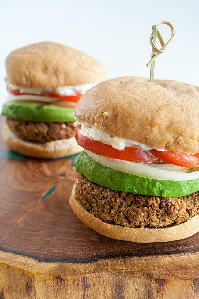 Lentil Burgers on a cutting board.