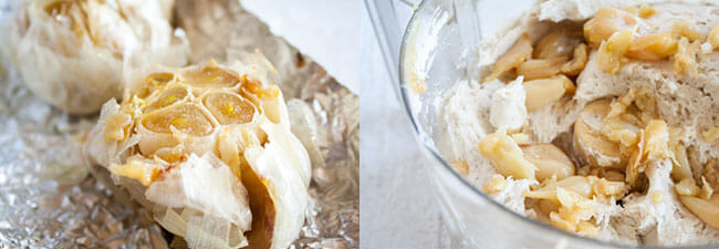 Roasted garlic on tinfoil left side, roasted garlic in food processor with pizza mix right side.