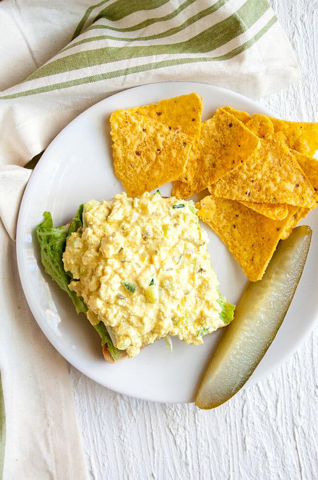 Tofu Salad Sandwich open faced.