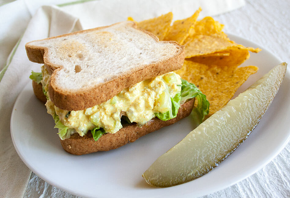 Vegan Egg Salad Sandwich on plate.