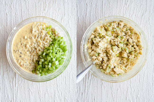 Tofu Salad mixture in bowl.