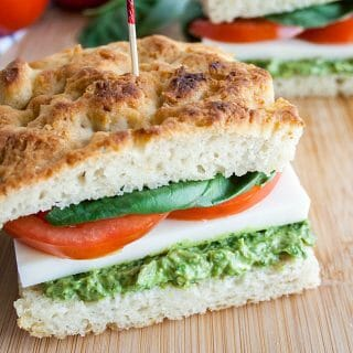 Vegan Avocado Pesto Caprese Sandwich