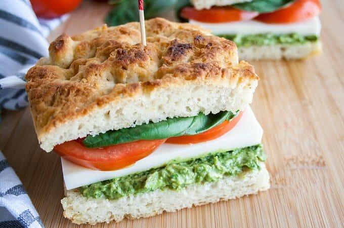 Vegan Avocado Pesto Caprese Sandwich