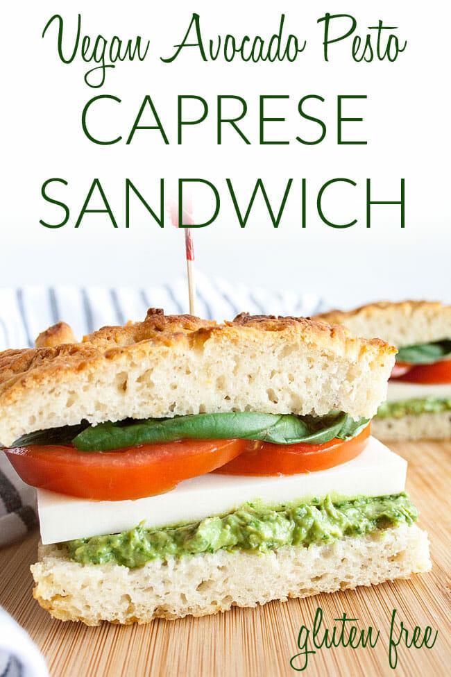 Vegan Avocado Pesto Caprese Sandwich photo with text.