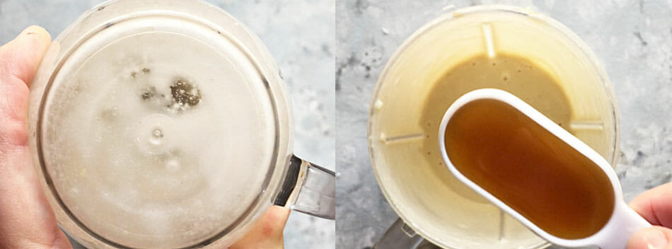 Left - Dessert Dip in Nutribullet being mixed. Right - maple syrup being added.
