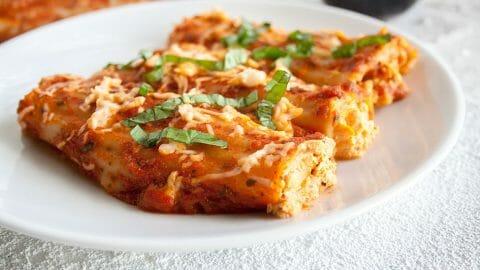 Vegan Manicotti with Tofu Ricotta and Roasted Red Pepper