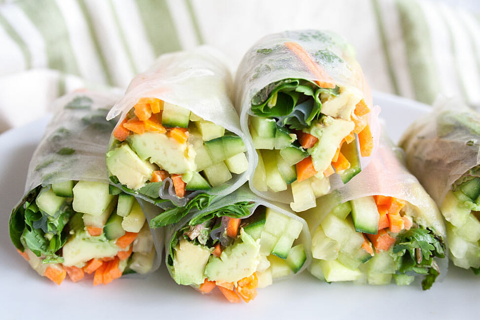 Vegan Summer Rolls with Peanut Sauce close up.