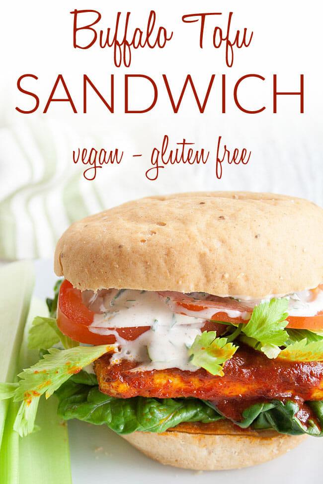 Buffalo Tofu Sandwich photo with text.