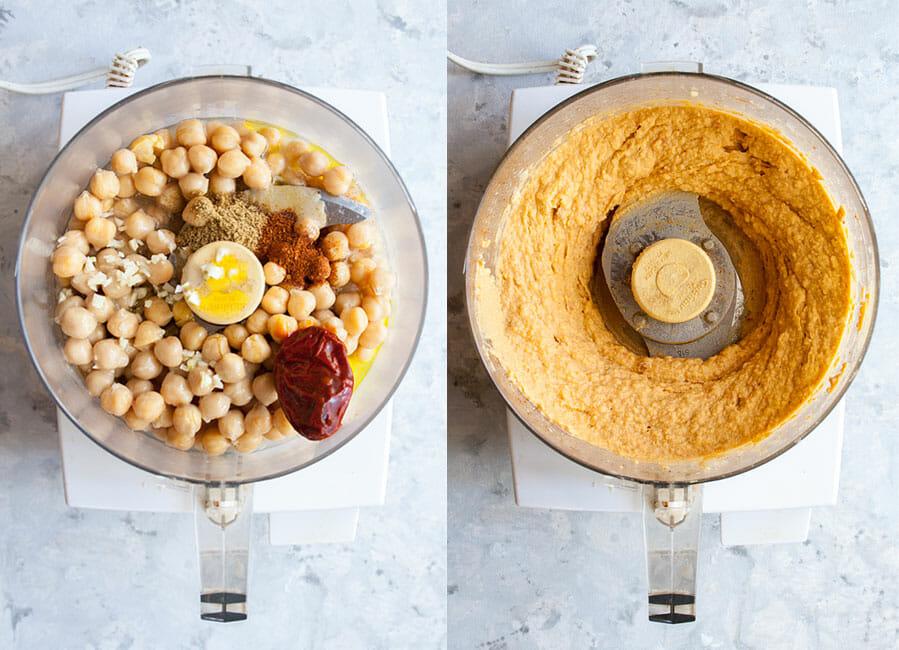 Hummus ingredients in food processor.