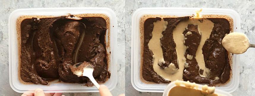 Vegan Chocolate Ice Cream and Vegan Peanut Butter Ice Cream being swirled together.