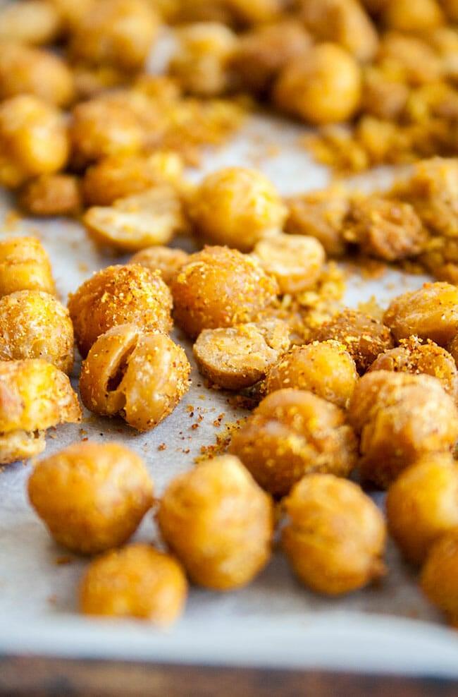 Crispy Nacho Roasted Chickpeas on sheet pan.