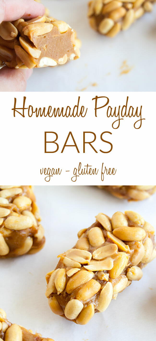 Homemade Payday Candy Bars collage photo with text.
