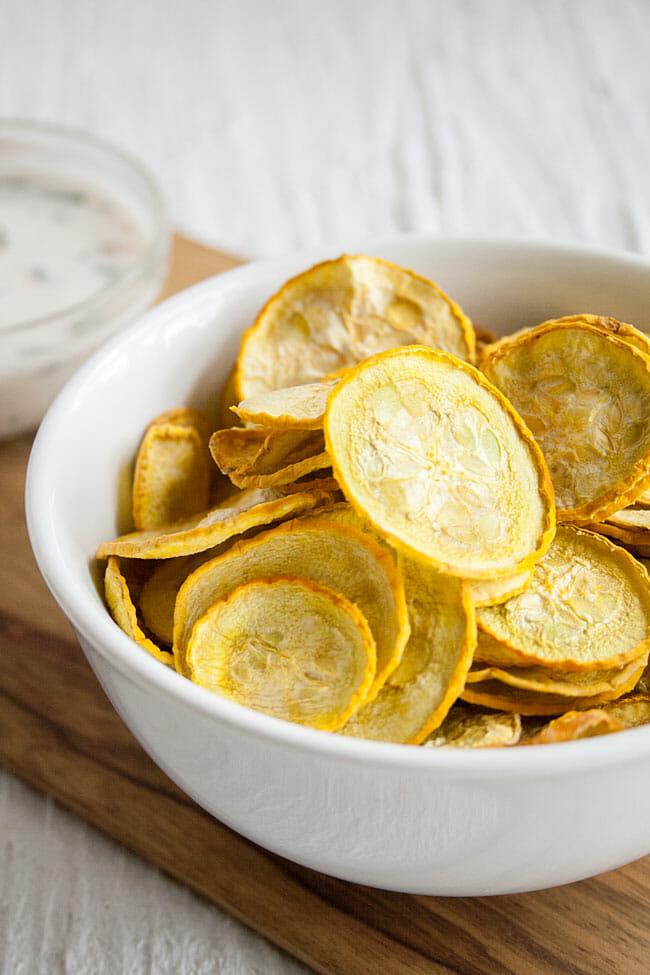 Salt and Vinegar Squash Chips close up.