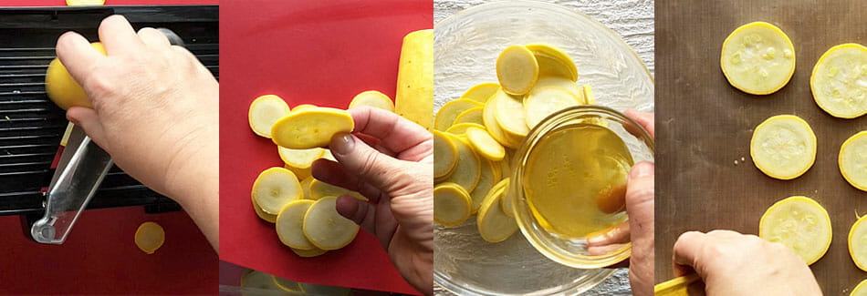 Squash chips being sliced, mixed with salt and vinegar mixture, and placed on Teflon sheet.