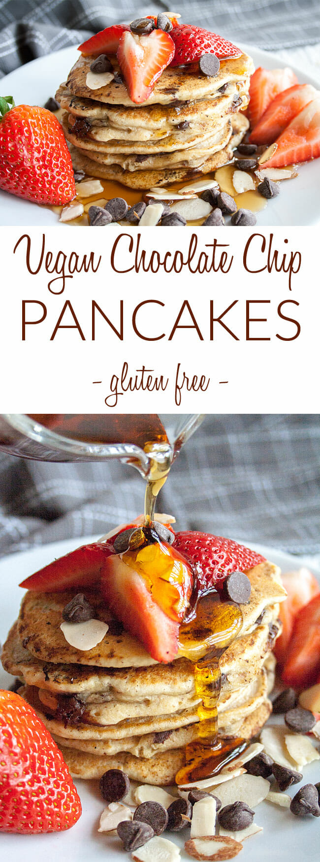 Fluffy Vegan Pancakes collage photo with text.