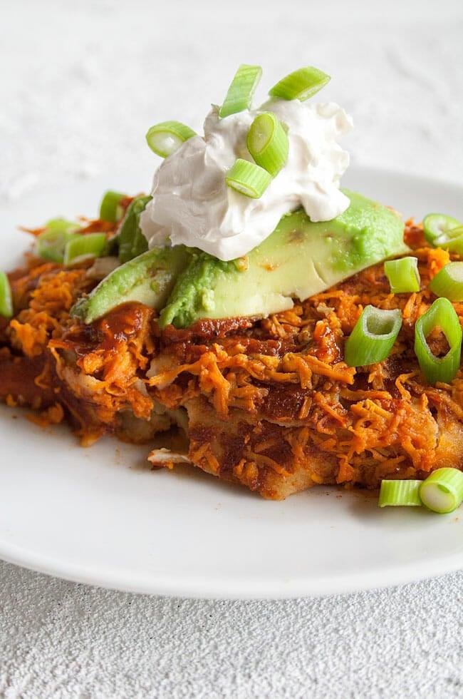 Vegan Enchiladas on a plate close up.