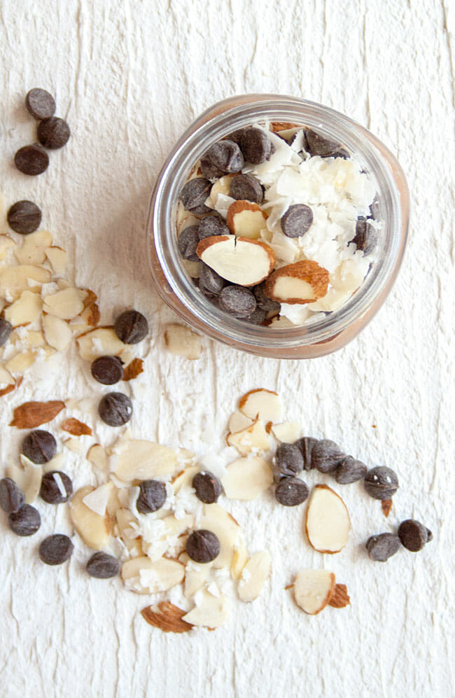 Chocolate Overnight Oats with almond and coconut.