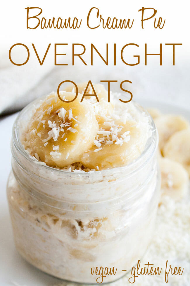 Banana and Coconut Overnight Oats photo with text.