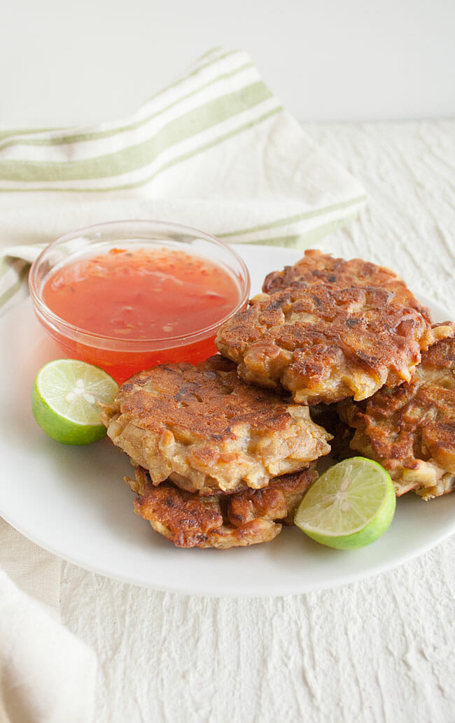 Caramelized Onion Fritters on a plate.