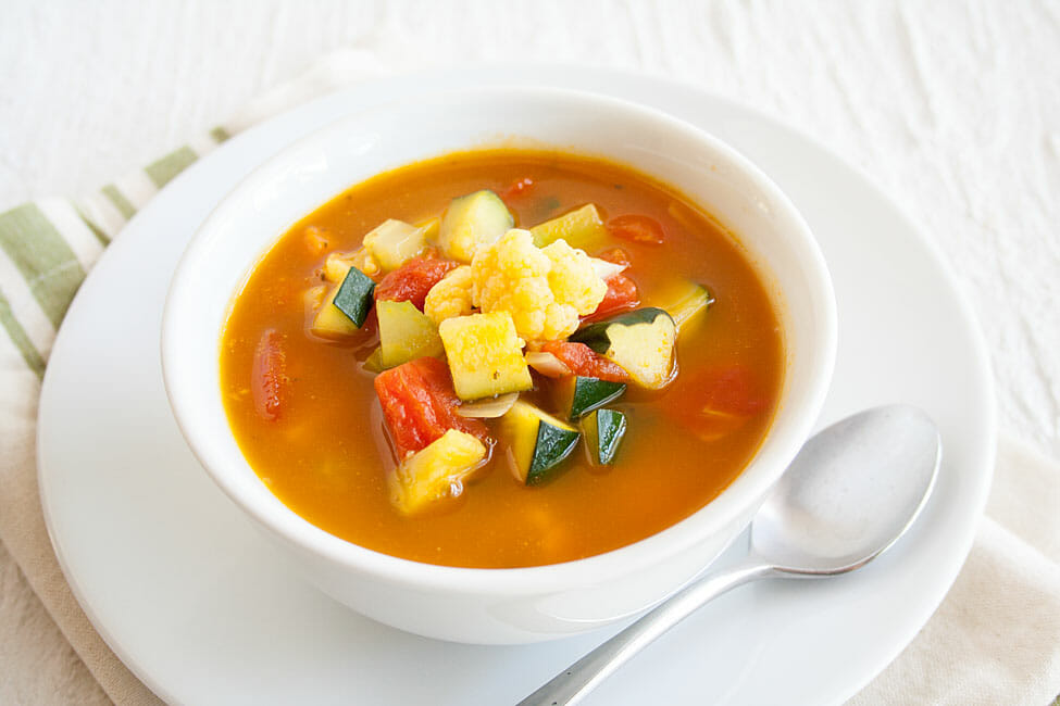 Easy Homemade Vegetable Soup with spoon.