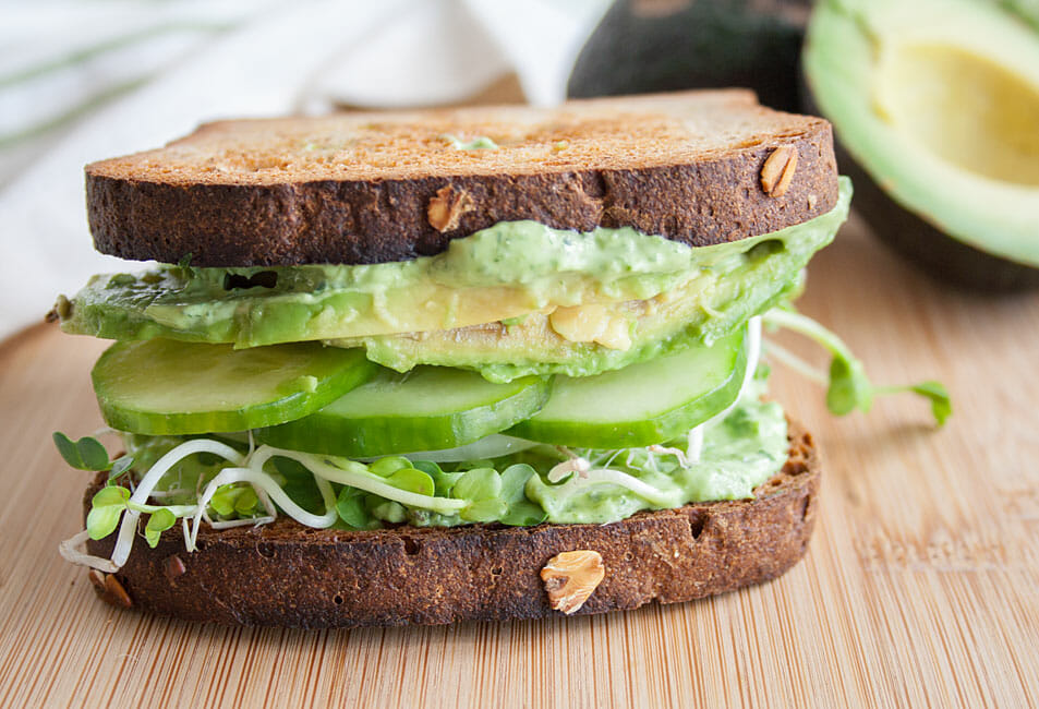 Veggie Sandwich with Green Goddess Dip.