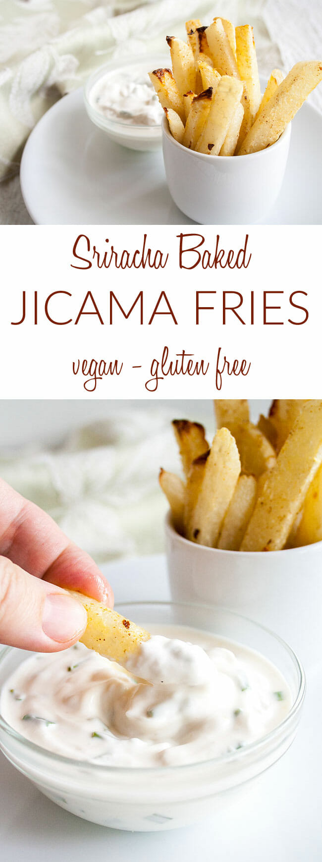 Baked Jicama Fries collage photo with text.