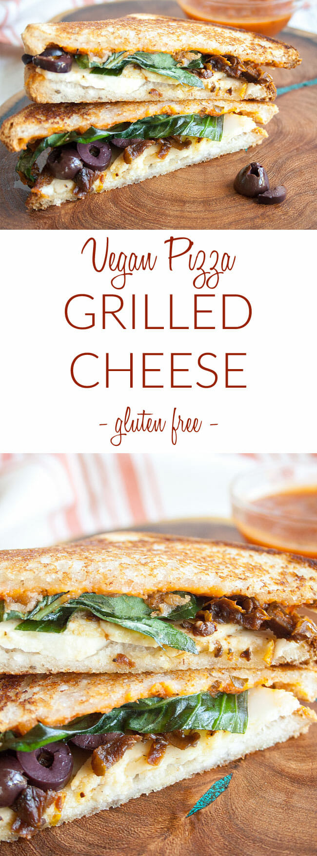 Pizza Grilled Cheese collage photo with text.