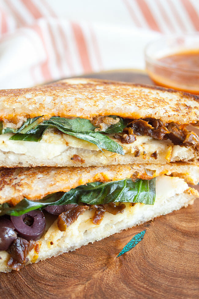 Vegan Pizza Grilled Cheese close up.