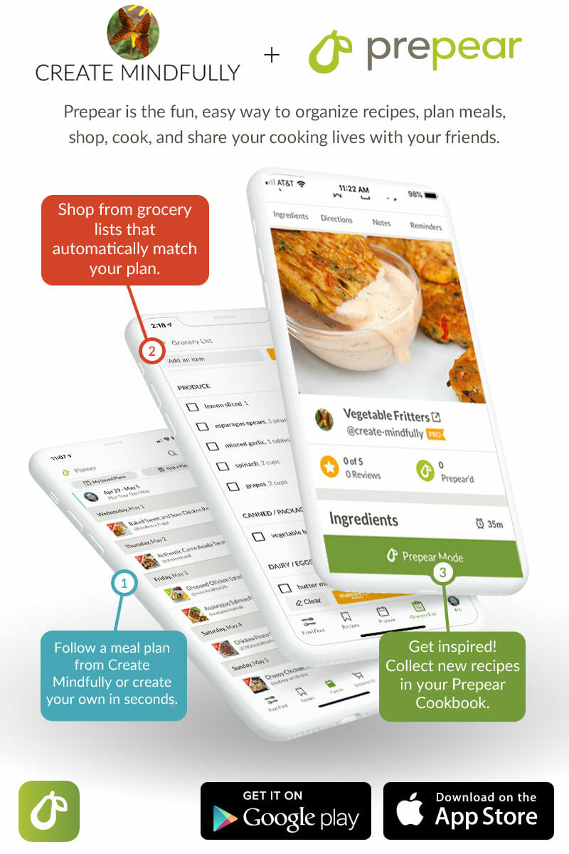 Three screen shots of Prepear App with text that discusses benefits like shop from a grocery list, follow a meal plan, and collect new recipes. Available on Google Play and the App Store.