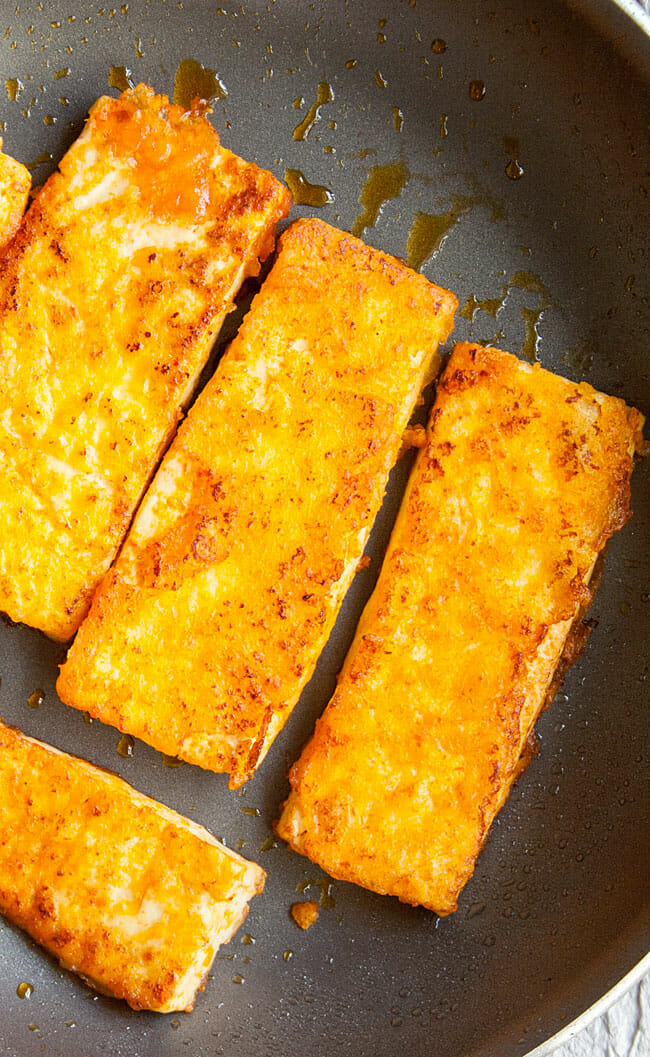 Buffalo Tofu in pan after being cooked.