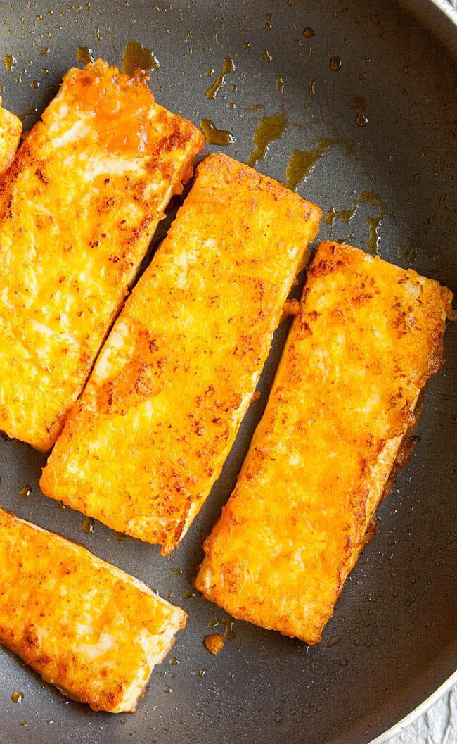 Buffalo Tofu in pan.