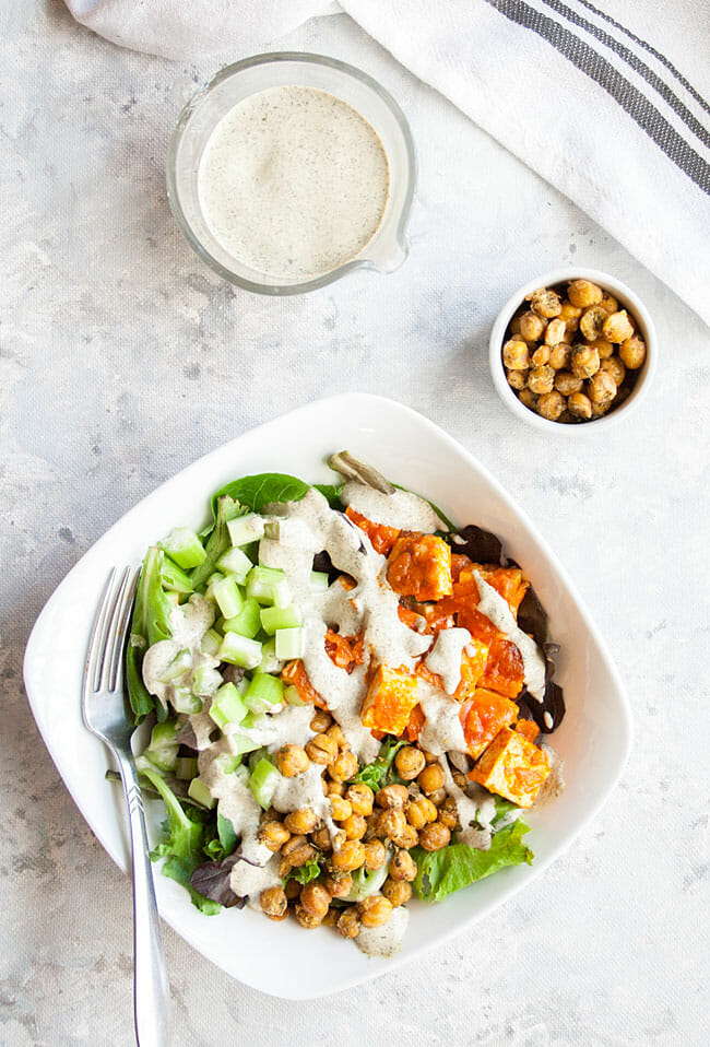 Buffalo Salad birds eye view with hemp ranch dressing and ranch roasted chickpeas.