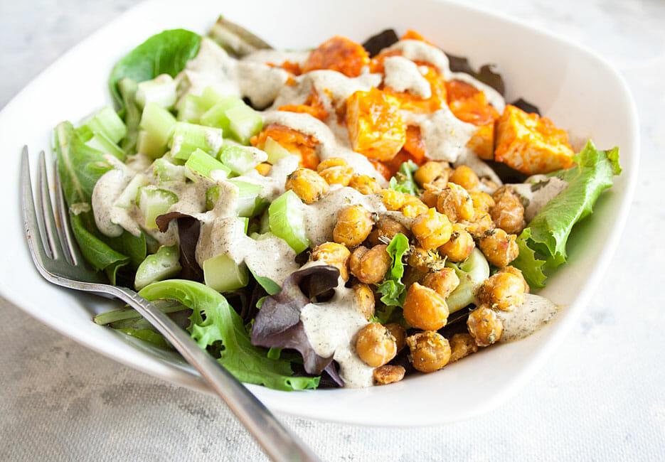 Buffalo Tofu Salad close up.