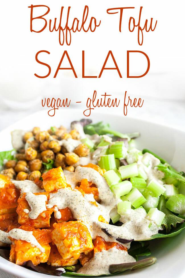 Buffalo Tofu Salad photo with text.
