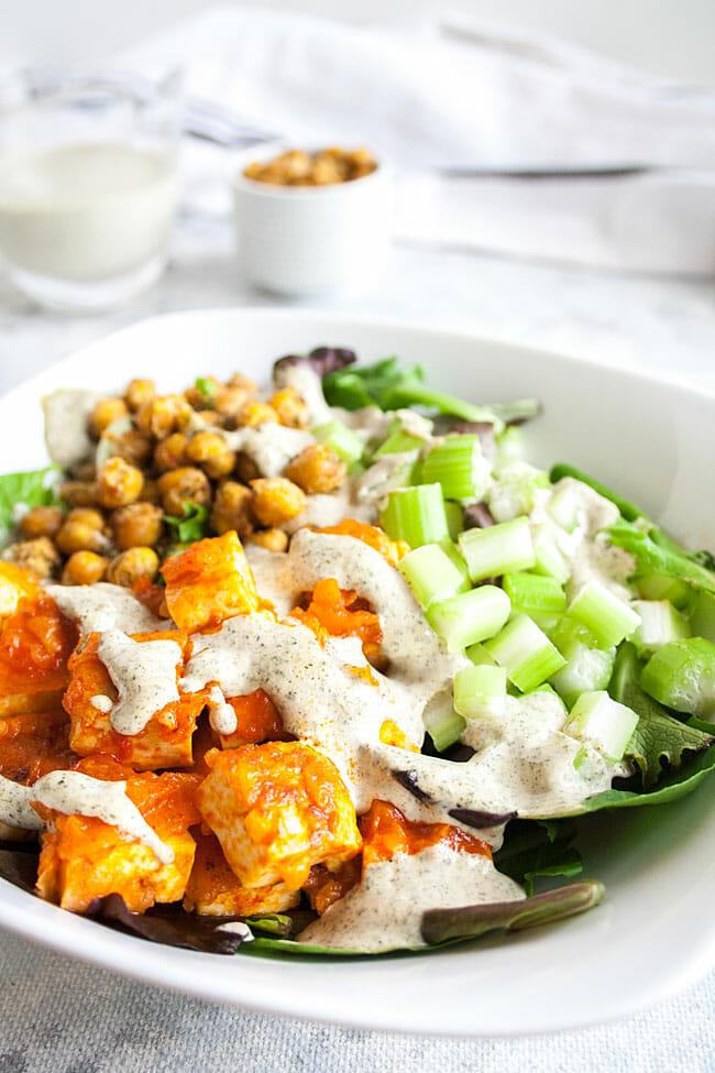 Buffalo Tofu Salad in a bowl.
