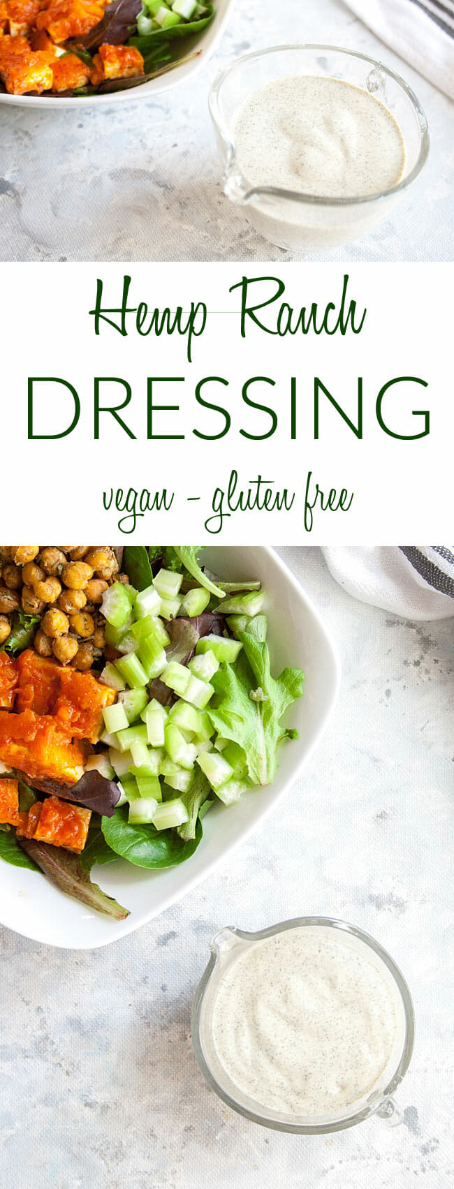 Vegan Ranch Dressing Recipe collage photo with text.
